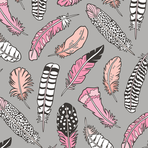 Boho Feathers Pink Peach on Grey fabric by caja_design on Spoonflower - custom fabric