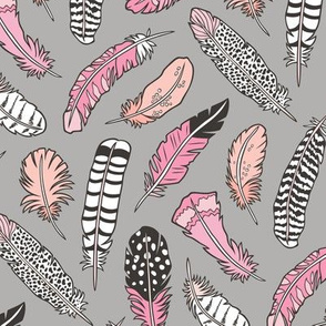 Boho Feathers Pink Peach on Grey