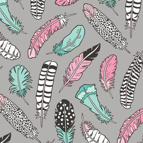 Boho Feathers Pink Mint Green on Grey