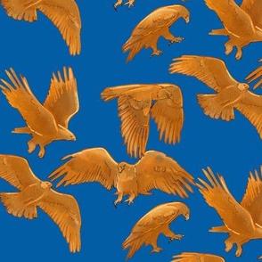 Golden Eagles on Royal Blue