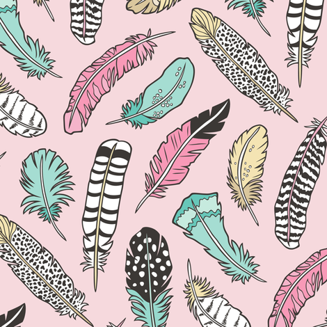 Boho Feathers Pink Mint Green Yellow on Pink fabric by caja_design on Spoonflower - custom fabric