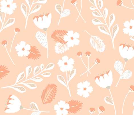 Modern Florals // Bloom Sketches in Blush and Gray fabric by frostdesignco on Spoonflower - custom fabric