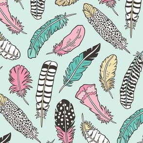 Boho Feathers Pink Yellow Green on Mint