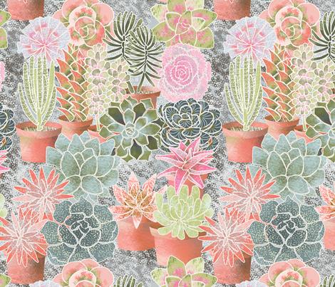 mon_jardin_de_succulents fabric by nadja_petremand on Spoonflower - custom fabric