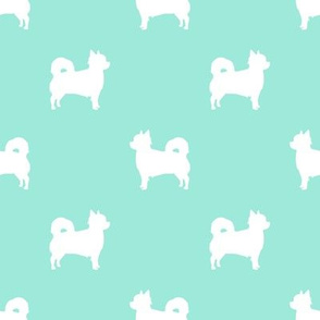 Chihuahua longhaired silhouette dog breed pattern aqua