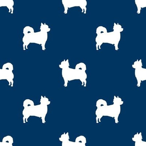 Chihuahua longhaired silhouette dog breed pattern navy