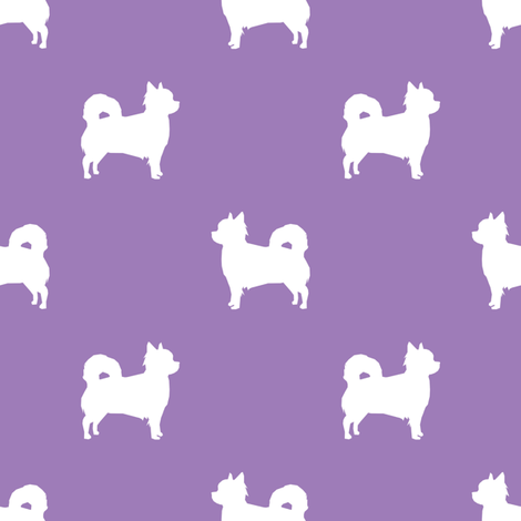 Chihuahua longhaired silhouette dog breed pattern purple fabric by petfriendly on Spoonflower - custom fabric
