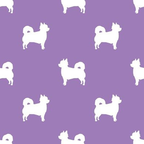 Chihuahua longhaired silhouette dog breed pattern purple