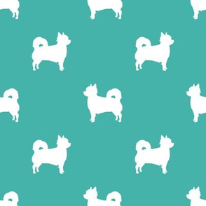 Chihuahua longhaired silhouette dog breed pattern turquoise