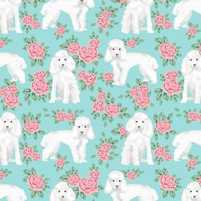 Toy Poodle rose florals fabric pattern dog breed 2