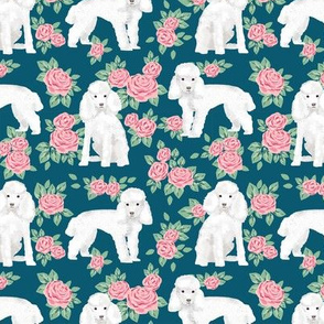 Toy Poodle rose florals fabric pattern dog breed 3
