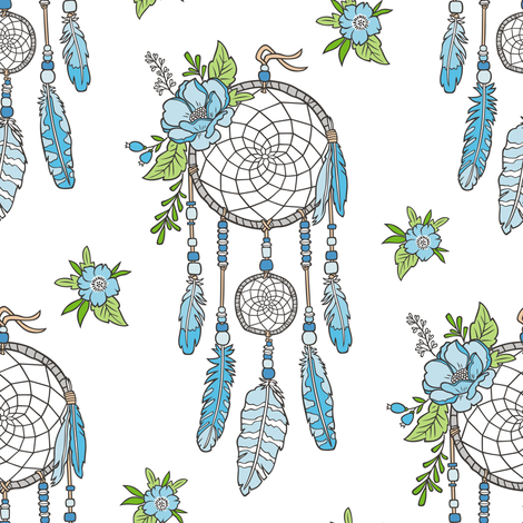 Boho Dream Catcher With Flowers And Feathers Blue On White