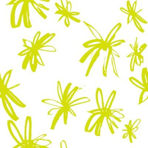 Sketchy Ditsy Floral // Chartreuse