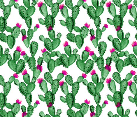emerald paddle cactus + rose  fabric by ivieclothco on Spoonflower - custom fabric
