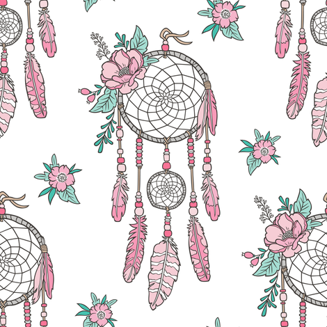 Boho Dream Catcher with Flowers and Feathers Pink on White fabric by caja_design on Spoonflower - custom fabric