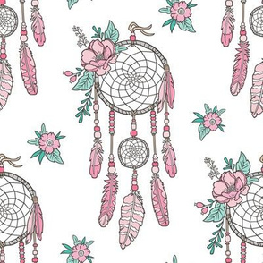Boho Dream Catcher with Flowers and Feathers Pink on White
