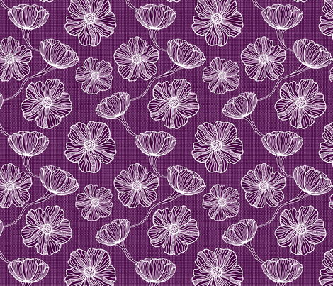 White Paper Outline Flowers fabric by xoxotique on Spoonflower - custom fabric