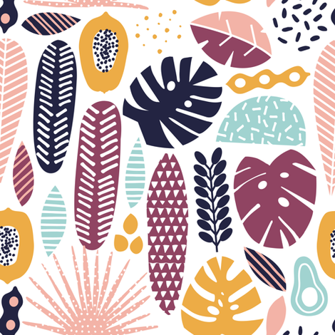 Tropical fruits and plants fabric by tasiania on Spoonflower - custom fabric