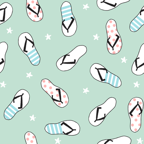 flip flop fabric // sandals summer beach sand fabric cute andrea lauren design - mint fabric by andrea_lauren on Spoonflower - custom fabric