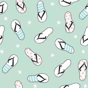 flip flop fabric // sandals summer beach sand fabric cute andrea lauren design - mint