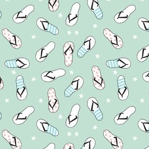 flip flop fabric // sandals summer beach sand fabric cute andrea lauren design - mint