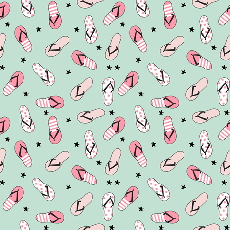 flip flop fabric // sandals summer beach sand fabric cute andrea lauren design - pink and mint fabric by andrea_lauren on Spoonflower - custom fabric