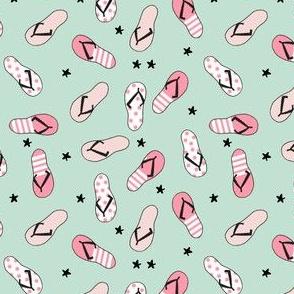 flip flop fabric // sandals summer beach sand fabric cute andrea lauren design - pink and mint