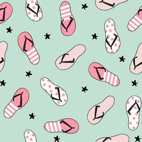 flip flop fabric // sandals summer beach sand fabric cute andrea lauren design - pink and mint