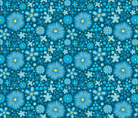 Spring Meadow (Dark Blue) fabric by robyriker on Spoonflower - custom fabric