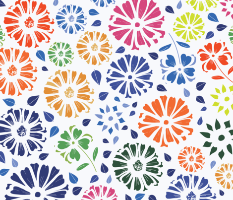 Flower Burst Inspired by Matisse fabric by annelafollette on Spoonflower - custom fabric