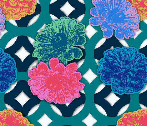 Zinnia Paper Cut Flowers fabric by mariafaithgarcia on Spoonflower - custom fabric