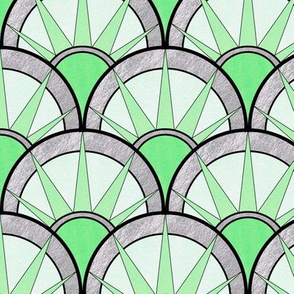 Pastel Green Art Deco Fancy Fan