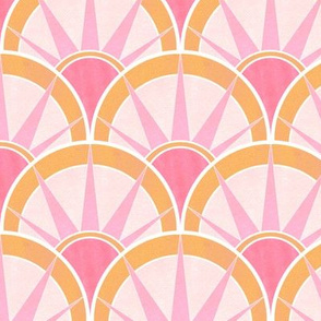 Pink and Orange Art Deco Fancy Fan