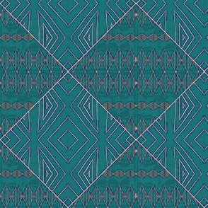 teal diamond mud cloth