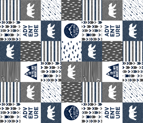 happy camper - navy and grey (90) fabric by littlearrowdesign on Spoonflower - custom fabric