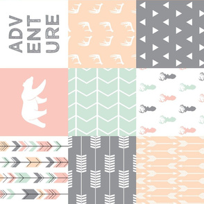 Woodland Patchwork Fabric - Pink,Grey,Mint, Peach (90)