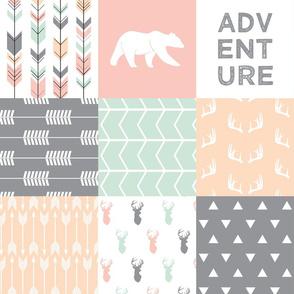 Woodland Patchwork Fabric - Pink,Grey,Mint, Peach