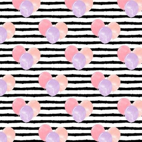 balloons on stripes - pink and purple
