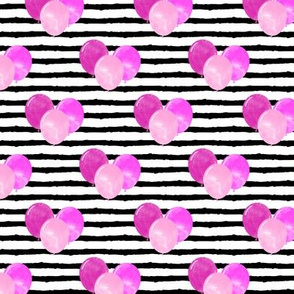 balloons on stripes - bold pinks