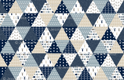 triangle wholecloth quilt top - the rustic woods collection
