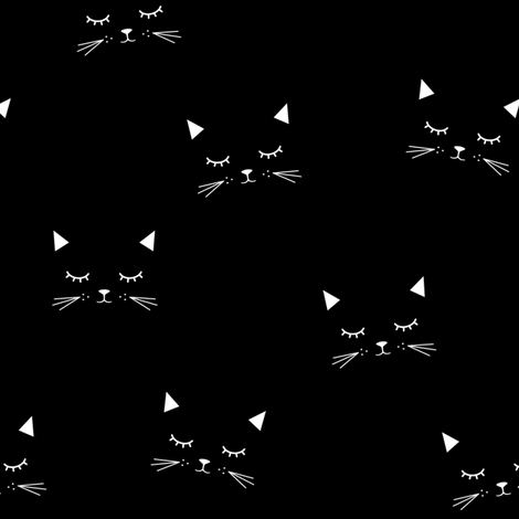 Cats - Black fabric by kimsa on Spoonflower - custom fabric