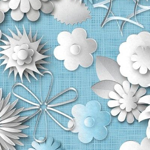 Paper Cut Flowers (Cornflower Blue)