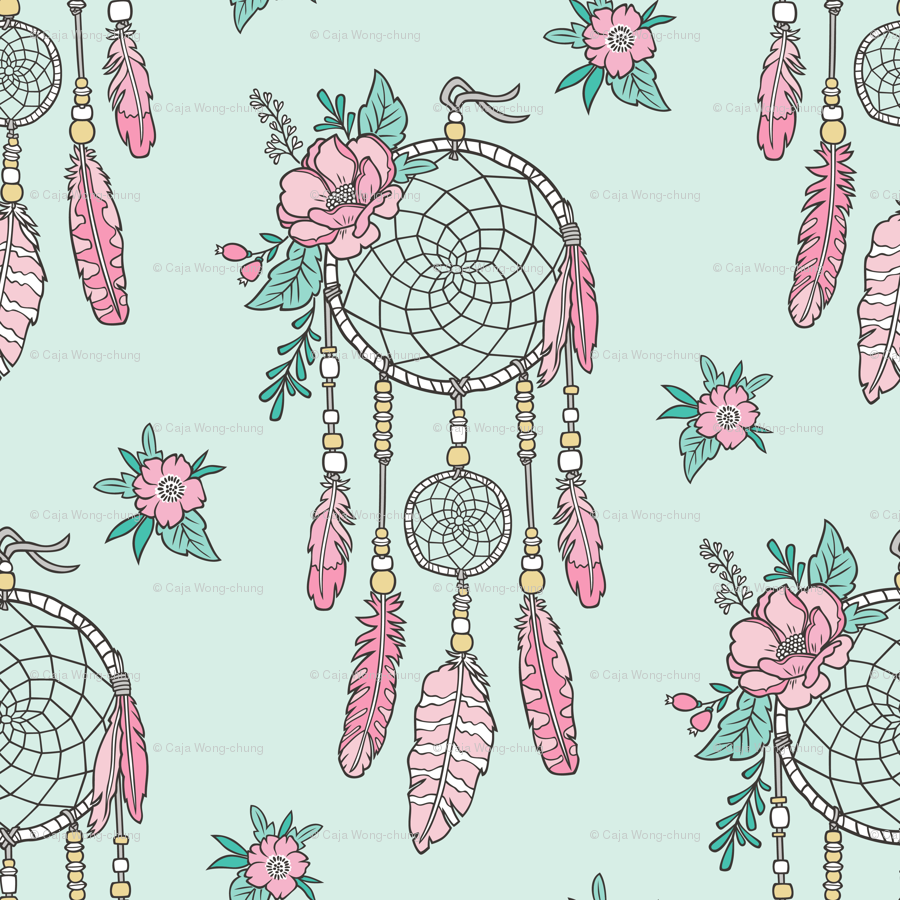 Boho Dream Catcher With Flowers And Feathers Pink On Mint Wallpaper
