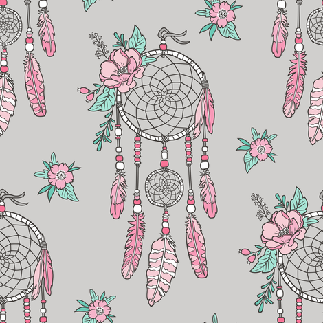 Boho Dream Catcher with Flowers and Feathers Pink on Grey fabric by caja_design on Spoonflower - custom fabric