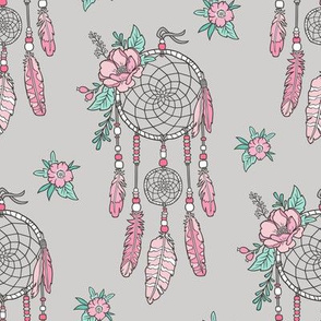 Boho Dream Catcher with Flowers and Feathers Pink on Grey