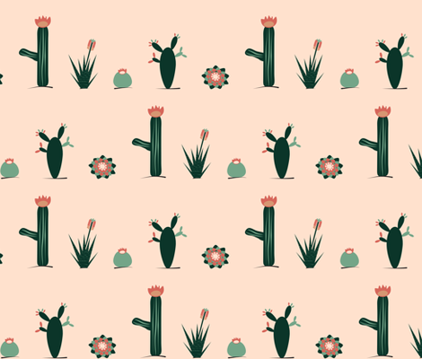 Pink and green succulents  fabric by pimento on Spoonflower - custom fabric