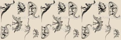 Museum Animals, Dinosaur Skeletons, Black and Cream (smaller for wallpaper)