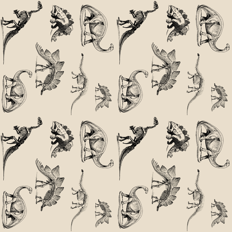 Museum Animals, Dinosaur Skeletons, Black and Cream (smaller for wallpaper) fabric by bohobear on Spoonflower - custom fabric