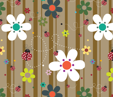 FlowersWithLadybugsBrown fabric by donnamarie on Spoonflower - custom fabric