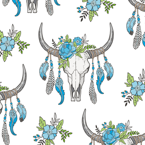 Boho Longhorn Cow Skull with Feathers and Flowers Blue fabric by caja_design on Spoonflower - custom fabric